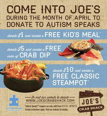Joe's Crab Shack Partners with Autism Speaks