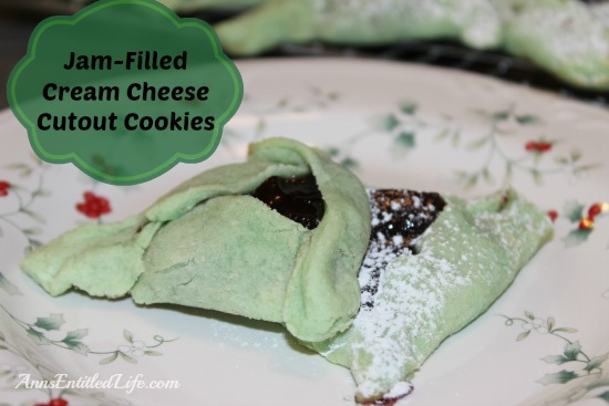 Jam Filled Cream Cheese Cutout Cookie Recipe. These delicious Jam Filled Cream Cheese Cutout Cookies smell divine and taste like grandma used to make. The dough can be left uncolored, or add a few drops of food dye for a festive alternative.