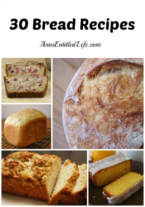 30 Bread Recipes. I love bread! If you enjoy bread as much as I do you will love this list of  30 Bread Recipes - there are bread machine, no-knead, and knead yeast recipes, as well as all kinds of  quick bread variations.  If you are looking for a bread to complete your next meal, look no further; one of these breads is sure to please.
