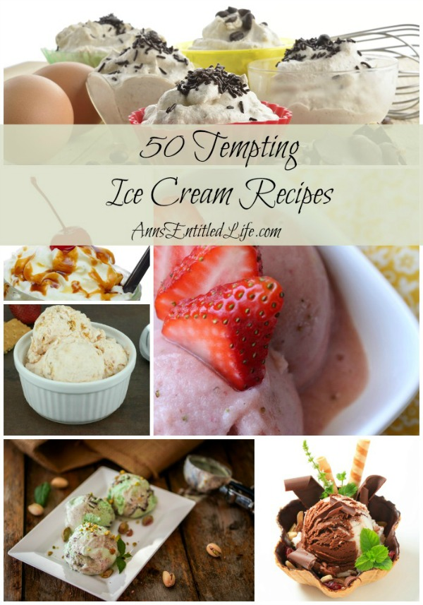 50 Tempting Ice Cream Recipes. Shakes, Sandwiches, Sundaes and Pies; enjoy these creamy, cool, sinfully delicious 50 Tempting Ice Cream Recipes. Icy confections perfect for a hot summer day!
