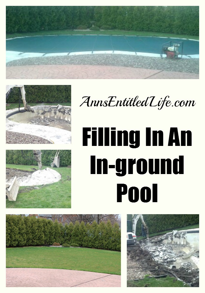 collage of the desruction of an inground pool to the fill-in