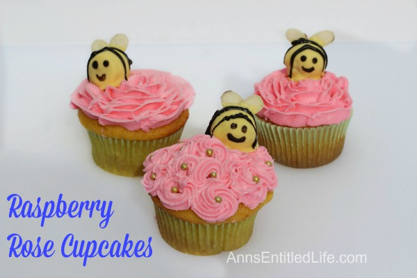 These Raspberry Rose Cupcakes are as delicious as they are adorable. The buzz will be strong when you serve these Raspberry Rose Cupcakes at your next family function, after dinner dessert or packed in a school lunch box!