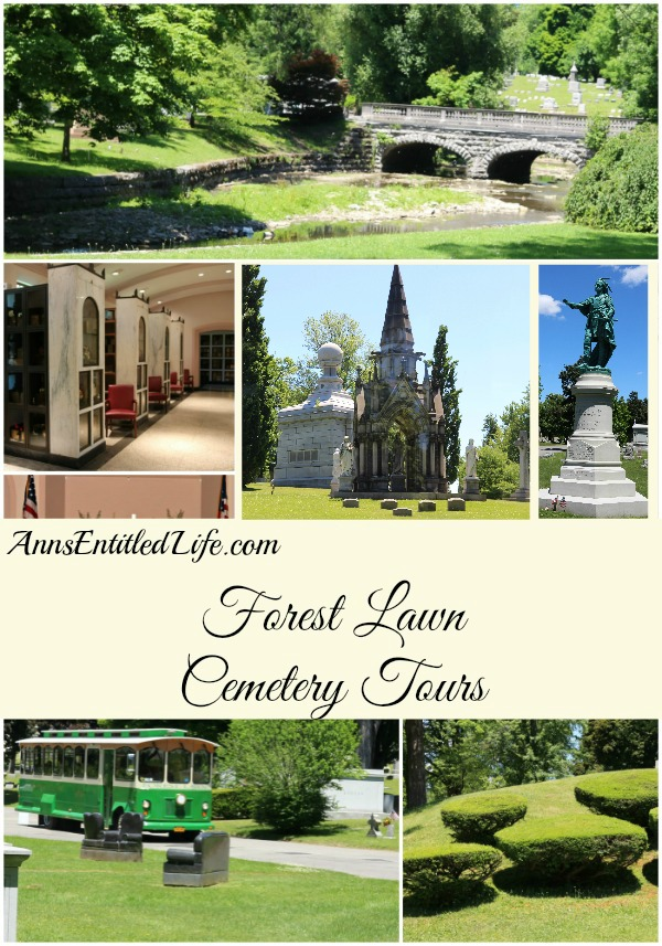 A collage of 6 sites at forest lawn cemetary