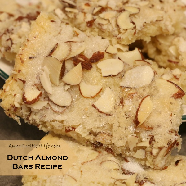 Dutch Almond Bars Recipe. Sweet and creamy butter, plus tasty almond goodness make for a rich and delicious Dutch Almond Bars Recipe.