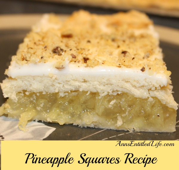Pineapple Squares Recipe. A delicious Pineapple dessert recipe from my grandmother, who made these Pineapple Squares for many, many years. Combine the fresh taste of crushed pineapple in a flaky, tender crust with a sweet, creamy frosting for a wonderful, unique, Pineapple Squares Recipe.