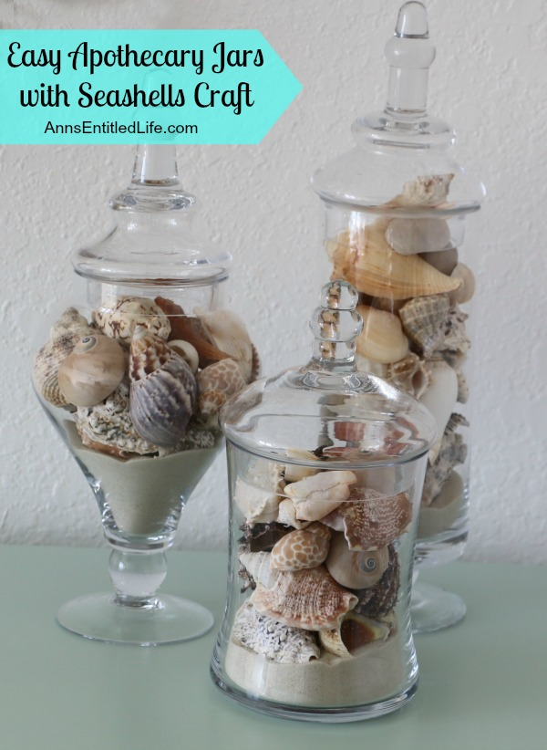 Apothecary Jars with Seashells. Use up your old seasshells (and a little sand) to make this easy, yet beautiful decorator seashell piece in minutes!