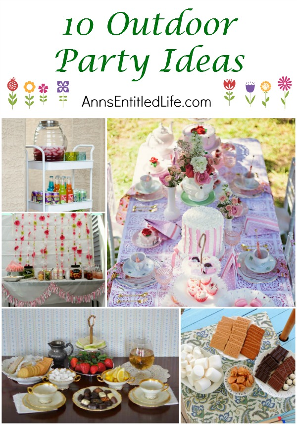 10 Outdoor Party Ideas. 'Tis the season for outdoor gatherings and celebrations. These 10 Outdoor Party Ideas celebrate birthdays, tea time, garden parties, and the quintessential American backyard barbeque! If you are planning an outdoor party this summer, look to these excellent outdoor party ideas!
