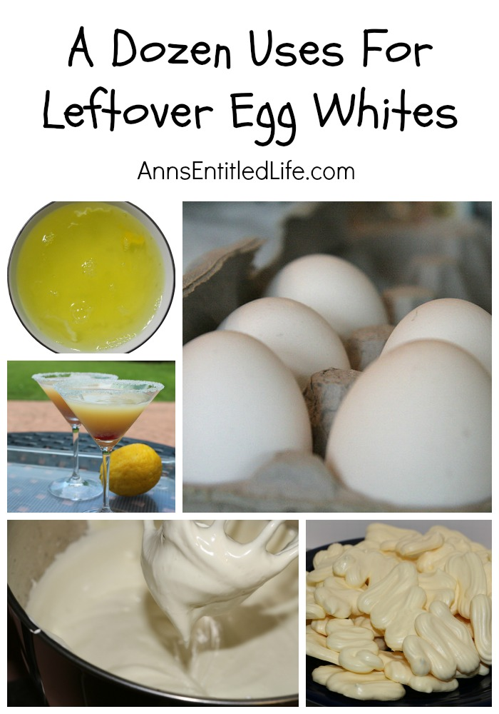 A Dozen Uses For Leftover Egg Whites. Have a lot of leftover egg whites from a baking project and do not want to throw them away?  Here are a dozen amazing (and incredible) things you can do with leftover egg whites!
