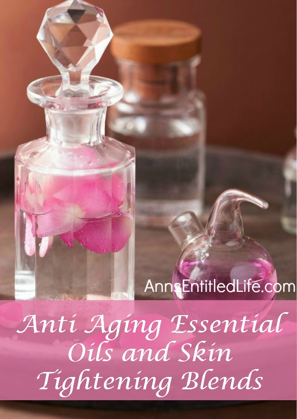Anti Aging Essential Oils and Skin Tightening Blends. Whether it be through television ads, magazine articles, internet pop-ups and more we are constantly bombarded with the next miracle anti aging solution that is going to make us look 20 years younger.  I wish!  The truth is many of these formulas are very expensive and ultimately do little to help your skin look younger. The good news is that there are many anti aging essential oils that will work to rebuild, tighten and restore your youthful glow.