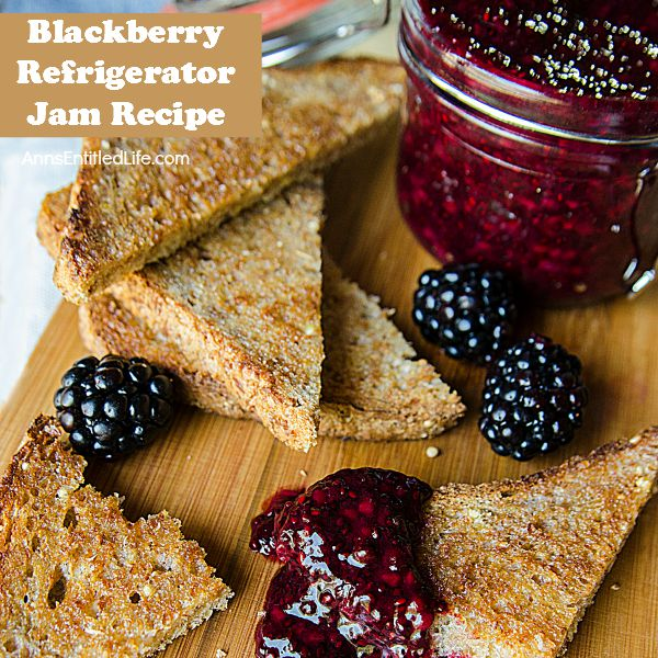 Blackberry Refrigerator Jam Recipe; this fast and easy blackberry refrigerator jam recipe is sugar free, pectin free, and totally delicious. This refrigerator jam can be made with practically any fresh berry. Make some today; your morning toast has never tasted so good!