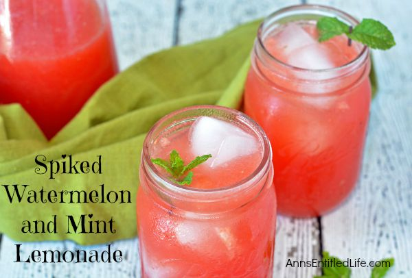 Spiked Watermelon and Mint Lemonade; a cool, flavorful, refreshing lemonade cocktail, this spiked watermelon and mint lemonade is perfect for a party, or sipping on the back porch on a hot summer day!