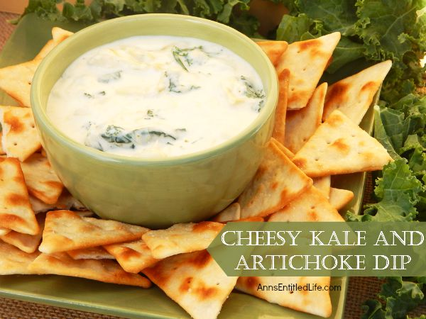 Cheesy Kale and Artichoke Dip; this creamy, cheesy, delicious kale and artichoke dip recipe is simple and fast to make. Great with tortilla chips, pita chips or vegetable sticks, it makes a great appetizer or party snack.
