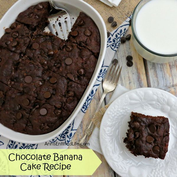 Chocolate Banana Cake; moist, tempting and delicious, this intense, fudgy Chocolate Banana Cake Recipe is fabulous with ice cream after dinner, or with milk for breakfast!