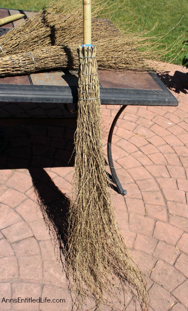 Easy DIY Halloween Glitter Witch's Broomstick; simple and fun to make Halloween Witch's Glitter Broomstick Tutorial DIY project. With just an hour of your time, and you have a wonderful 6 foot tall witch broomstick to make your Halloween decor, or costume, complete!