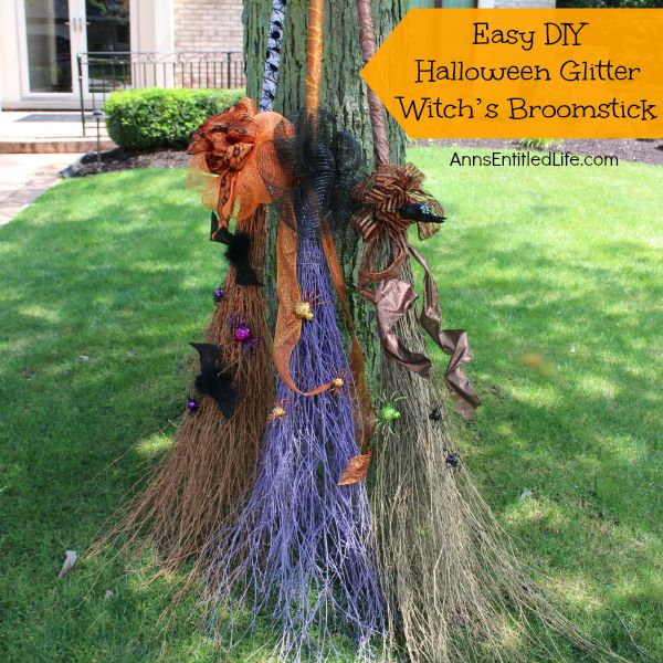 Easy Diy Halloween Glitter Witch S Broomstick