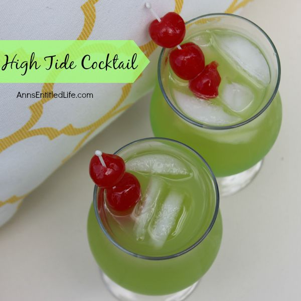 The High Tide Cocktail will remind you of warm summer days and fun times on the beach. A sweet, delicious rum cocktail with a touch of Midori citrus, the High Tide is a fabulous adult libation.