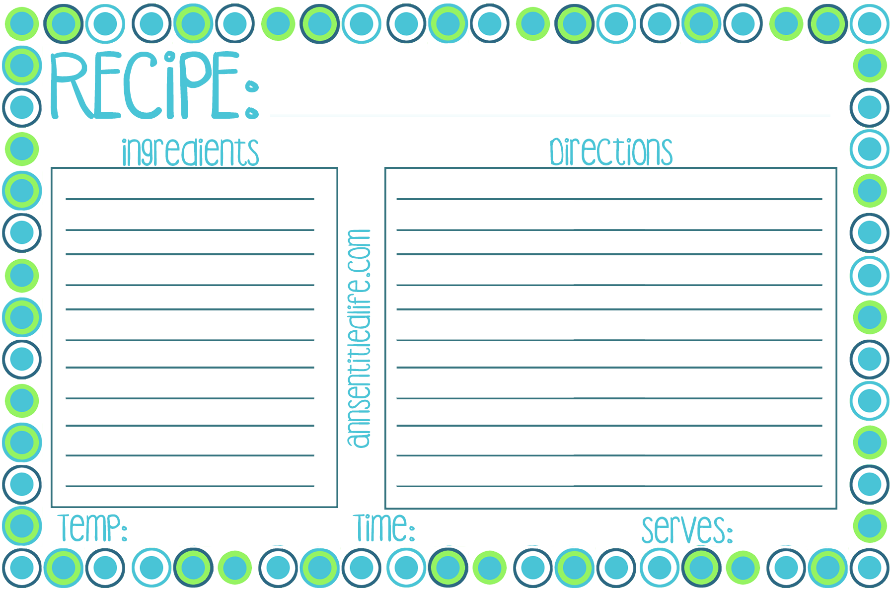 free printable recipe card  meal planner and kitchen labels