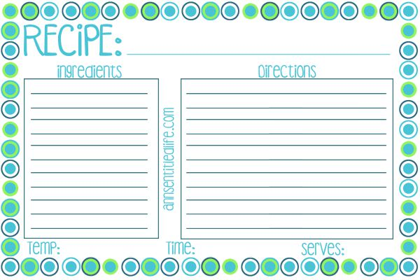 Printable Recipe Card Meal Planner And Kitchen Labels