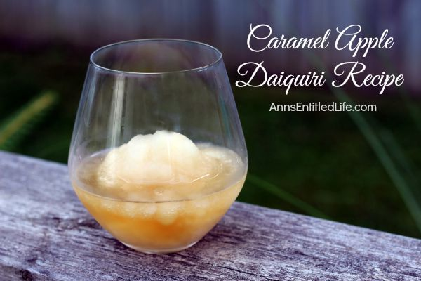 This Caramel Apple Daiquiri has a mellow, apple fruitiness that combines well with the butterscotch schnapps. This is a fun, delicious cocktail on a warm fall day.