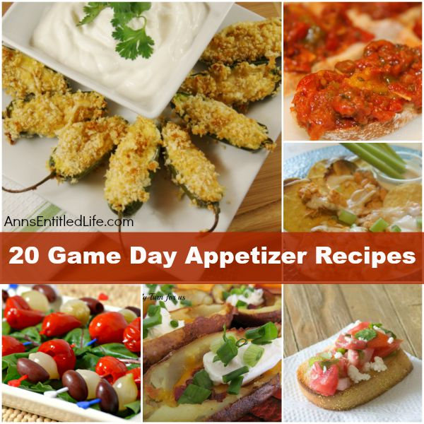 Game Day Recipes; Appetizers. Cheese, bacon, wings and salad: there is something for everyone on this awesome list of Game Day Appetizers. Whether your party is large or small, backyard or game day tailgating, these appetizer recipes are the perfect start before the big game!