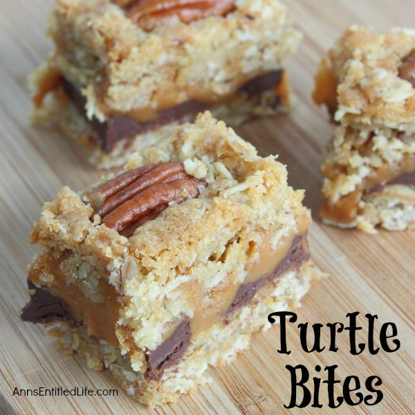 Turtle Bites;If you love turtle candies, you will love these easy to make turtle bite bars. Rich with chocolate, smooth with caramel, these turtle bite bars are a fabulous dessert, in a lunch box, or as a special treat.