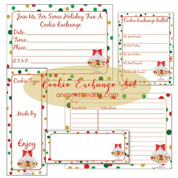 Holiday Cookie Exchange Ideas. Hosting a Holiday Cookie Exchange this year? Here are some tips and ideas for hosting the perfect Cookie Swap this holiday season. I have also included free printable invitations, recipe cards, table tents, ballots, and cookie gift tags!