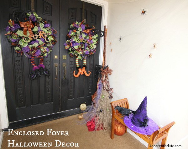 Halloween Decor: enclosed foyer DIY Halloween decor of the non-spooky variety.