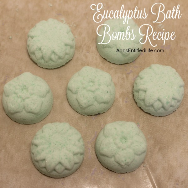 Eucalyptus Bath Bombs Recipe. Make bath and shower time wonderful with these easy to make, Eucalyptus Bath Bombs. The fresh aromatic scent of eucalyptus will sooth your muscles, clear your nasal passages and perk up your day! Use these Eucalyptus Bath Bombs  to pamper and sooth yourself or give these homemade bath fizzies as gifts for any special occasion.