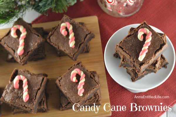 Candy Cane Brownie Recipe. A peppermint delight, these tasty candy cane brownies are an easy to make holiday treat. Serve frosted or unfrosted, and decorated with cute, simple to make, candy canes.