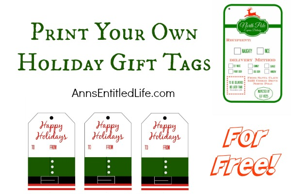Print Your Own Christmas Gift Tags. Print your own gift tags this holiday season, for free!  Save the cost of store bought Christmas gift tags and print these instead.