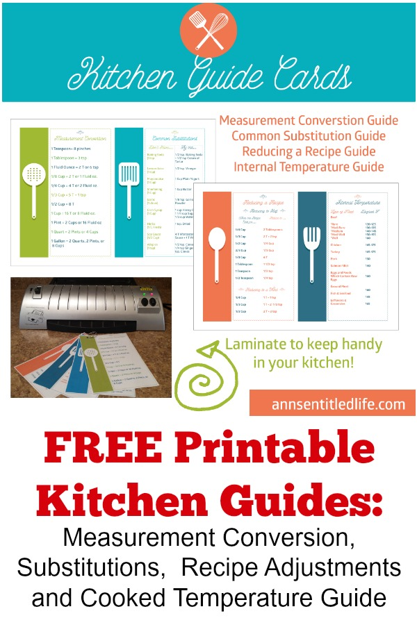 Printable Cooking and Baking Guides. Print out a selection of free cooking and baking guides including Kitchen Measurement Conversion Chart, Common Substitution Guide, Reducing a Recipe Guide and Internal Temperature Guide. Never wonder again how to half a recipe, what the proper internal temperature of pork should be or how many pinches make a teaspoon! Print out these easy to follow  free cooking and baking charts today!