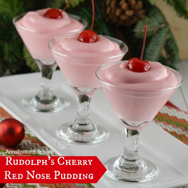 Rudolph's Cherry Red Nose Pudding. A delicious pudding recipe that is great any time of year! Make ahead as pudding shots, or serve as a dessert. This amazing  pudding recipe is best reserved for adults.