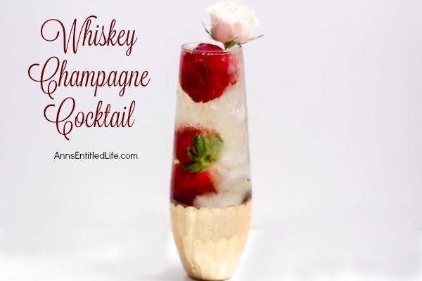 Whiskey Champagne Cocktail. A delightful adult libation, perfect for celebrations, romantic dinners, or when simply when you would like to share a cocktail with a special someone. This Whiskey Champagne Cocktail is easy to make, and oh so delicious!