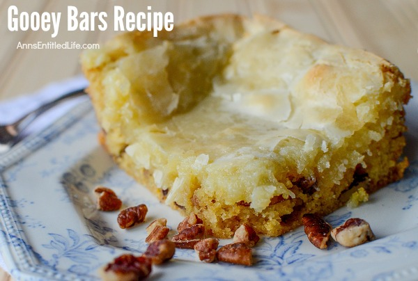Gooey Bars Recipe. Ooey Gooey delicious goodness! Try these fabulous Gooey Bars for dessert. Your entire family will love them!