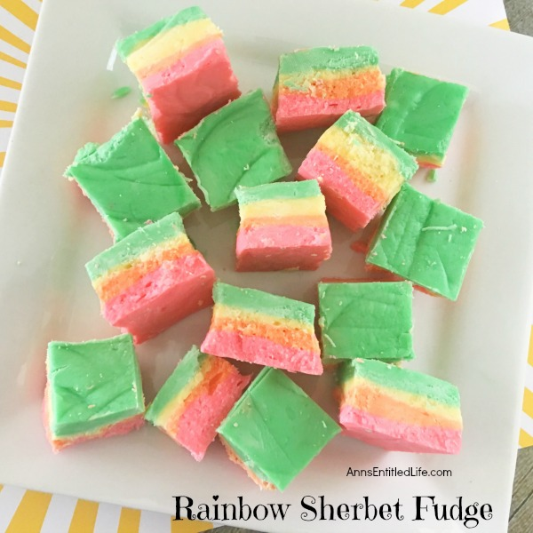 Rainbow Sherbet Fudge Recipe. Delicious Rainbow Sherbet Fudge! This pretty fudge is so simple to make and will brighten up any occasion. If you are looking for a fun treat, give this wonderful fudge a try.