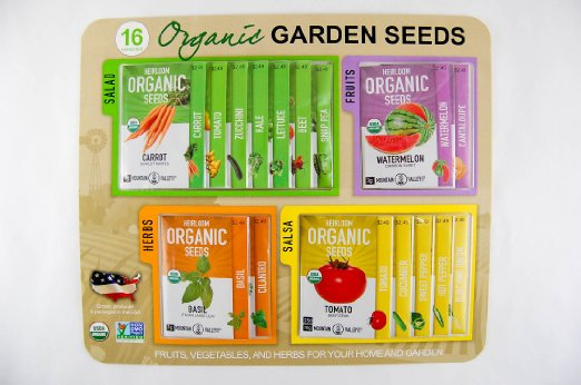 Certified Organic, Heirloom, Non-GMO Garden Seeds (16 varieties)