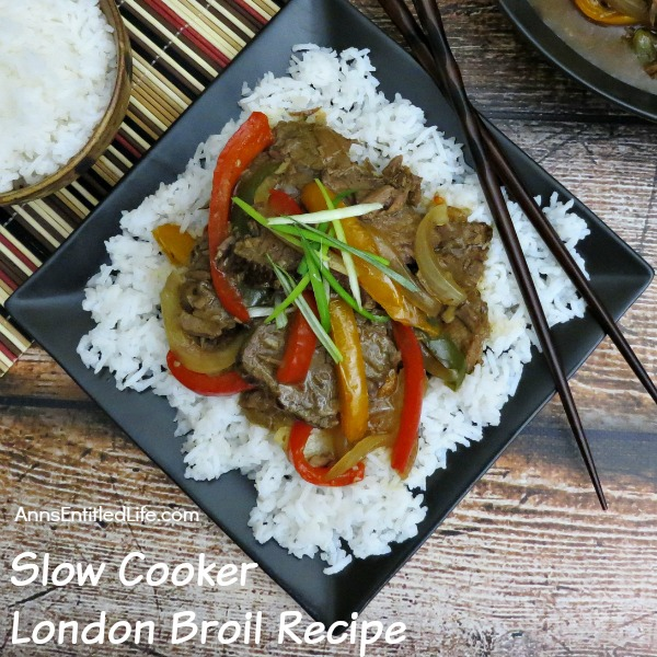 Slow Cooker London Broil Recipe. Take an inexpensive cut of London Broil to new heights with this delicious slow cooker recipe. Tender and tasty slices of beef, beautifully done vegetables in a savory broth served over rice makes for one satisfying family dinner. Try this Slow Cooker London Broil Recipe!