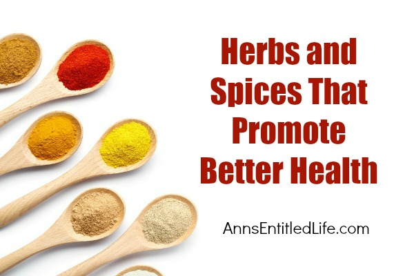 Herbs and Spices That Promote Better Health. Here are gathered here 10 favorite medicinal herbs and spices that can be mixed into your favorite foods and drinks to help promote better health!