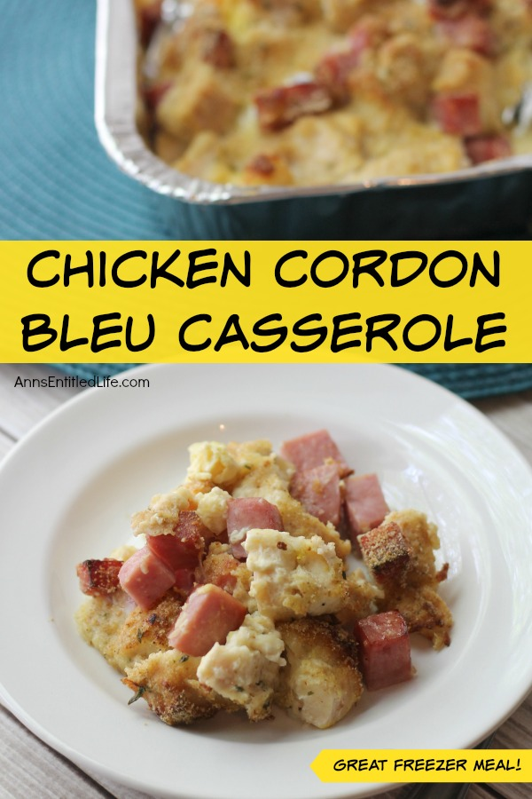 Chicken Cordon Bleu Casserole Recipe. A favorite classic dish turned into easy to toss together casserole. This Chicken Cordon Bleu Casserole gives you all of the flavors of the traditional dish in an easy to make and serve style that screams comfort food. Make and serve or store as a freezer meal for later. The whole family will enjoy this wonderful Chicken Cordon Bleu Casserole Recipe.