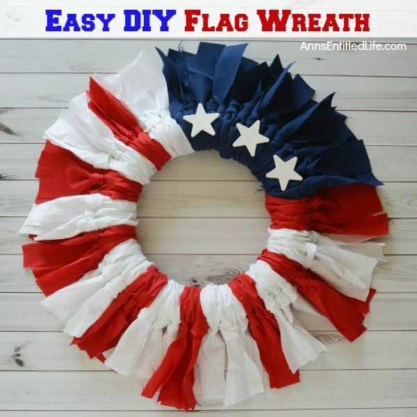 Easy DIY Flag Wreath. Make your own no-sew Flag Wreath using these easy step by step instructions. This cute patriotic decor is perfect for Memorial Day, Independence Day, or any day! Simple and inexpensive to make, this Easy DIY Flag Wreath will add a marvelous touch of whimsy to your holiday decor.