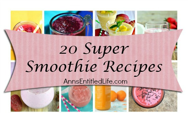 20 Super Smoothie Recipes. Breakfast, lunch or snack time; smoothies are a great energy boost, get your daily fruits and vegetables requirement, and a terrific meal replacement. Next time you are craving a delicious and nutritious smoothie, try one of these 20 Super Smoothie Recipes!