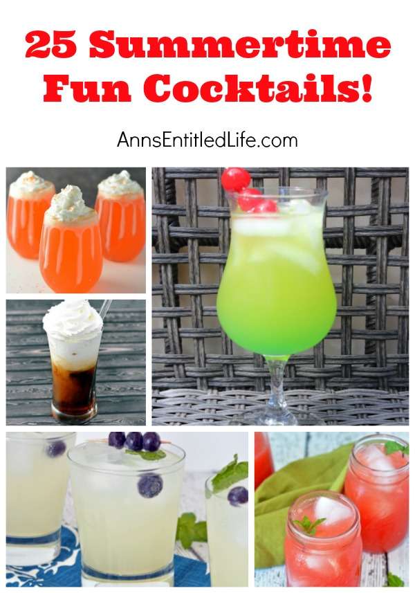 25 Summertime Fun Cocktails. Cookouts, Picnics, Parties and more, summer is prime time for fun get-togethers with friends and family. Mojitos, Margaritas, Spiked Lemonades and Teas: if you are looking for a tasty, delicious, summertime cocktail recipe, try on of the 25 outstanding summer libations listed here!