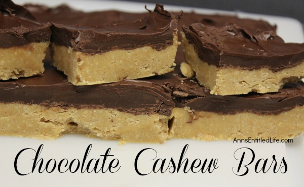 Chocolate Cashew Bars. A delicious, satisfying, chocolate cashew bar that holds up for days after you make them! Cut them thick or thin, they are a great lunch-box, or anytime, snack.