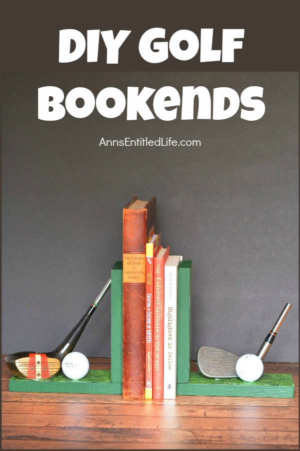 Handmade bookends with golf club decor. There are several books in between the book ends. This is set upon a mantel, against a grey wall background.