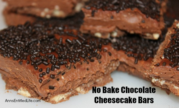 No Bake Chocolate Cheesecake Bars. Serve up a batch of No Bake Chocolate Cheesecake Bars the next time you desire a sweet on a hot summer day! Easy to make, these rich, creamy and delicious No Bake Chocolate Cheesecake Bars are sure to satisfy your craving.