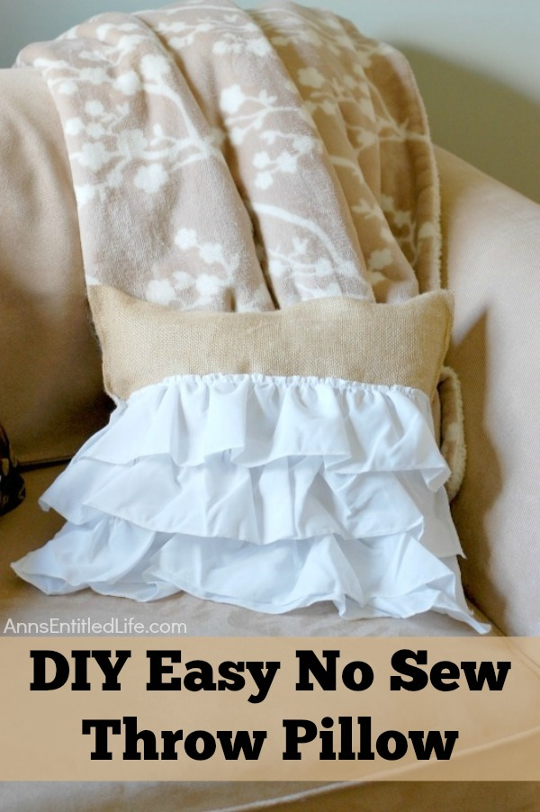 How To Make A Throw Pillow With Ruffle : DIY Easy No Sew Throw Pillow