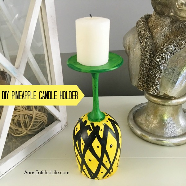 DIY Pineapple Candle Holder. Make your own adorable DIY Pineapple Candle Holder. This step by step tutorial will show you how to easily make pineapples from a wine glass! This is perfect for a centerpiece, mantel decor or table decorations throughout the year. Pineapple symbolized hospitality, so make a few and give them as a housewarming gift, bridal shower or birthday present, or just because! If you are looking for a cute craft project, this is it!
