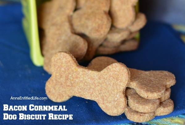 Bacon Cornmeal Dog Biscuit Recipe. These homemade dog treats for your special pooch are bursting with flavors dogs love. These easy to make bacon cornmeal dog biscuits will have your pet barking for more.