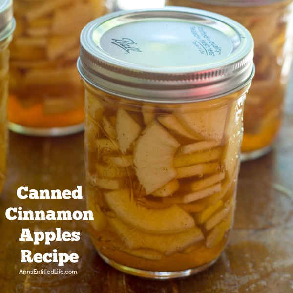 Canned Cinnamon Apples Recipe. Make your own cinnamon apples with this easy canned cinnamon apples recipe. Eaten as a snack, on top of ice cream, used to make a pie; the ideas are endless for these delicious cinnamon apples!