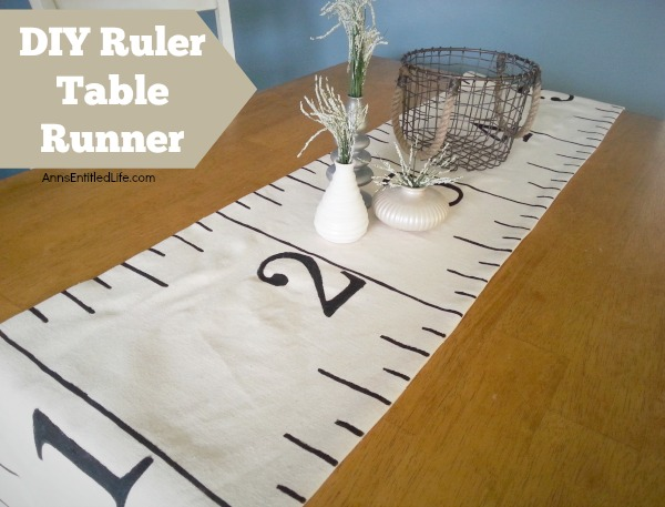 DIY Ruler Table Runner. Make your own Ruler Table Runner!  A fun decor craft for homeschoolers, back to school, teachers, and more! This cute and creative craft is simple to make, adds some whimsy to home decor and will look great on your kitchen table, dining room table or sideboard.
